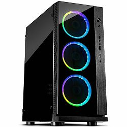 Chassis INTER-TECH W-III RGB Midi Tower, eATX, 1xUSB3.0, 2xUSB2.0, audio, PSU optional, Acrylic side, Tempered glass front(3x 120mm RGB fans), Black