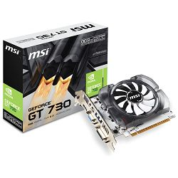 MSI Video Card GeForce GT 730 GDDR5 2GB/64bit, 1006MHz/5000MHz, PCI-E 2.0 x16, HDMI, DVI-D, VGA, Sleeve Fan Cooler (Double Slot), Retail