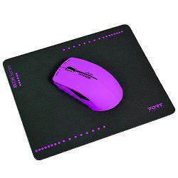 Port miš NEON bežični + podloška, ljubičasti