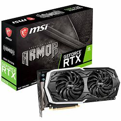 MSI Video Card NVidia GeForce RTX 2070 GDDR6 8GB/256bit, 1410MHz/14000MHz, PCI-E 3.0 x16, 3xDP, HDMI, USB Type-C, ARMOR 2X Cooler(Double Slot) RGB Mystic Light, Backplate, Retail