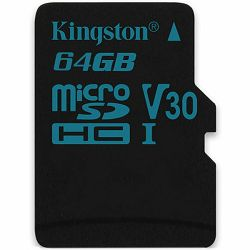 Kingston 64GB microSDXC Canvas Go 90/45 U3 UHS-I V30 Single Pack W/O Adptr EAN: 740617276251