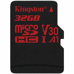 KINGSTON 32GB microSDHC Canvas React 100/70 U3 UHS-I V30 A1 Single Pack w/o Adp