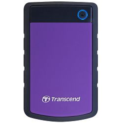 TRANSCEND USB HDD, StoreJet 25H3, 1TB, USB3.0, Rubber casing, Military-grade shock resistance, Quick Reconnect Button, Purple, 3 yrs