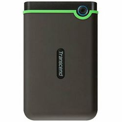 TRANSCEND USB HDD, StoreJet 25M3, 2TB, USB3.0, Rubber casing, Military-grade shock resistance, Quick Reconnect Button, Iron Gray/Green, 3 yrs