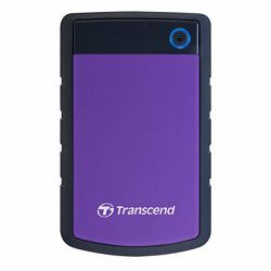Transcend 3TB StoreJet H3P USB3.0, rubber casing, military-grade shock resistance with 3-stage shock protection, 3yrs, purple, Quick Reconnect Button