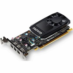 PNY NVIDIA Video Card Quadro P1000 GDDR5 4GB/128bit, 640 CUDA® Cores, PCI-E 3.0 x16, 4xminiDP, Cooler, Single Slot, Low Profile (4xmDP-DP Cables, Full Size and Low Profile Bracket included) 3yr. warr.