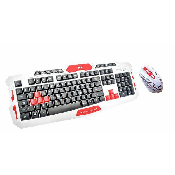 MS ACROBAT_2 bijeli bežični gaming set tipkovnica i miš