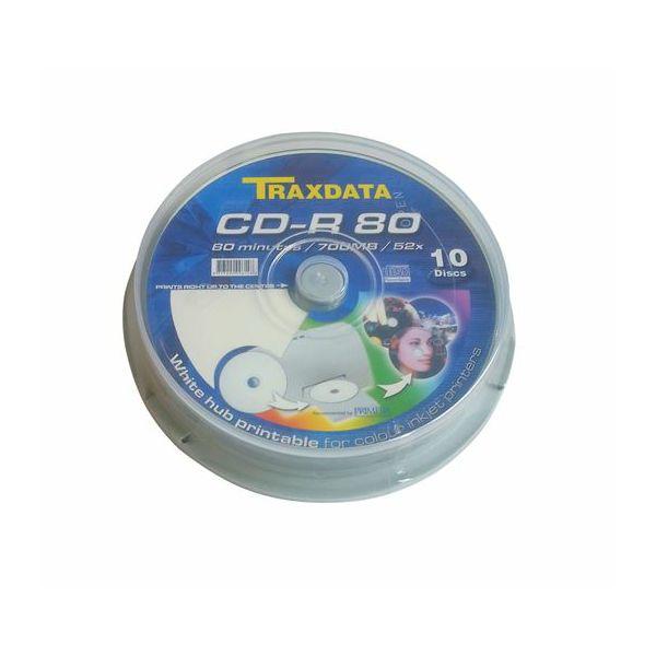 TRAXDATA OPTIČKI MEDIJ CD-R PRINTABILNI CAKE 10  901CK1WTRA01
