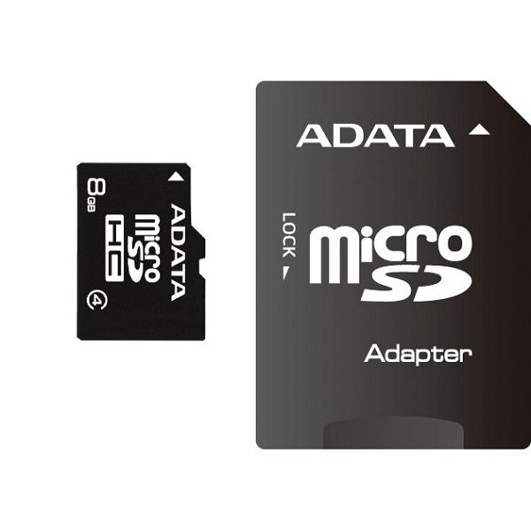 Memorijska kartica Adata SD MICRO 8GB HC Class4 + 1ad  AUSDH8GCL4-RA1