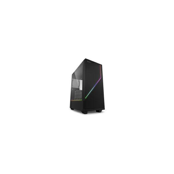 Sharkoon RGB FLOW Midi Tower ATX kućište, prozirna bočna stranica, bez napajanja, crno
