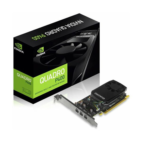 NVIDIA Video Card Quadro P400 GDDR5 2GB/64bit, 256 CUDA® Cores, PCI-E 3.0 x16, 3xminiDP, Cooler, Single Slot, Low Profile (3xmDP-DP Cables, Full Size and Low Profile Bracket incuded)  4710918138400
