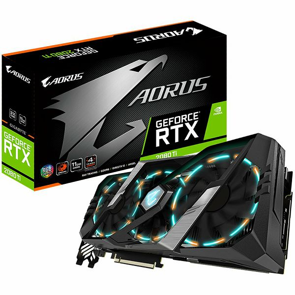 GIGABYTE Video Card NVidia GeForce RTX 2080 Ti AORUS GDDR6 11GB/352bit, 1695MHz/14000MHz, PCI-E 3.0 x16, 3xHDMI, 3xDP, USB Type-C, WINDFORCE Stack 3X Cooler (Double Slot) RGB Fusion, RGB light reinven
