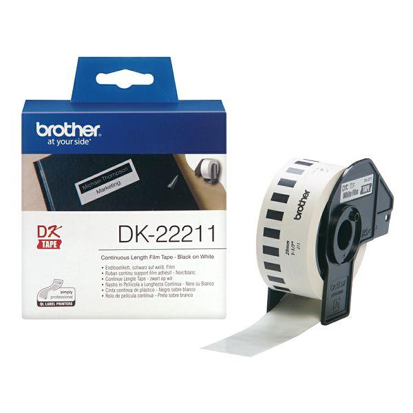 29mm x 15,24m, poliesterska traka, Crna na bijelo  DK22211