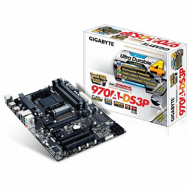 GIGABYTE Main Board Desktop AMD 970A (SAM3,DDR3,SATA III,LAN,USB 2.0/3.0) ATX Box