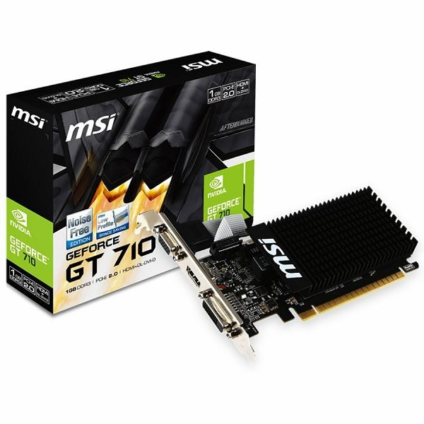 MSI Video Card GeForce GT 710 DDR3 1GB/64bit, 954MHz/1600GHz, PCI-E 2.0 x16, HDMI, DVI-D, VGA Heatsink, Low-profile, Retail