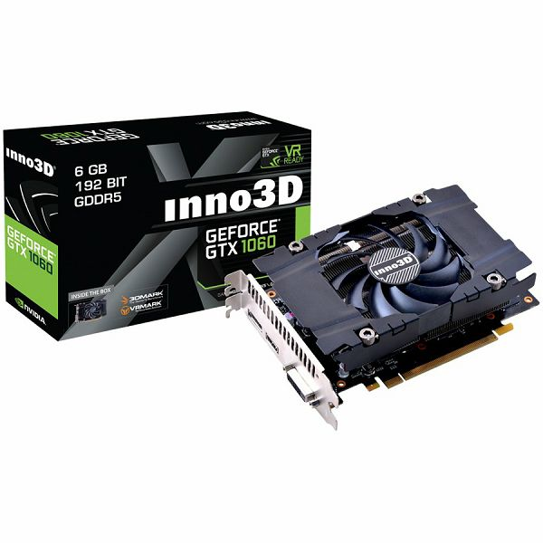 Inno3D Video Card GeForce GTX 1060 Compact GDDR5 3GB/192bit, 1506MHz/8000MHz, PCI-E 3.0 x16, HDMI, DVI-D, DP, HerculeZ Cooler (Double Slot), Retail