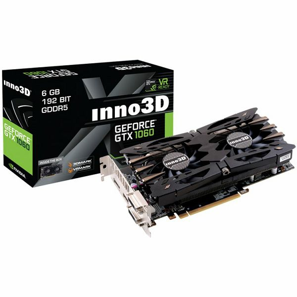 Inno3D Video Card GeForce GTX 1060 Twin X2 GDDR5 3GB/192bit, 1506MHz/8000MHz, PCI-E 3.0 x16, HDMI, 2xDVI-D, DP, HerculeZ 2X Cooler (Double Slot), Retail