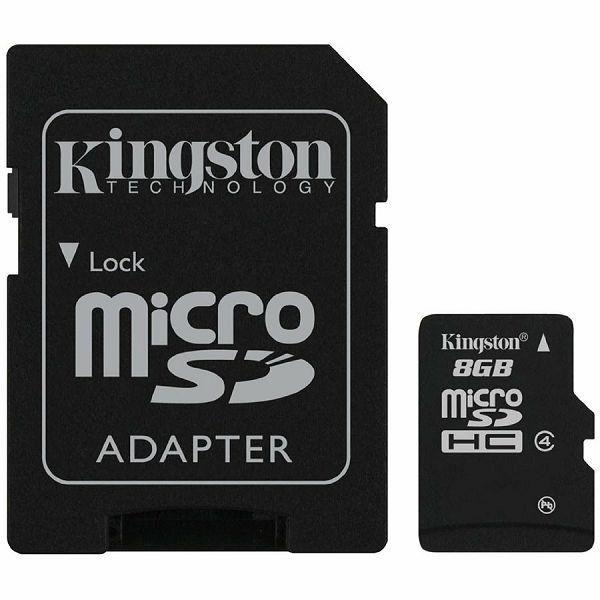 Kingston  8GB microSDHC Class 4 Flash Card + SD Adapter, EAN: 740617128147