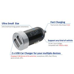 Fortron Car Charger 5V3  DC 12-24V black