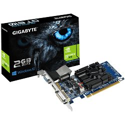 GIGABYTE Video Card GeForce GT 610 DDR3 2GB/64bit, 810MHz/1333MHz, PCI-E 2.0 x16, HDMI, DVI-I, VGA, Cooler, Low-profile, Retail