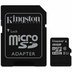 Kingston  16GB microSDHC Class 10 UHS-I 45MB/s Read Card + SD Adapter, EAN: 740617245974