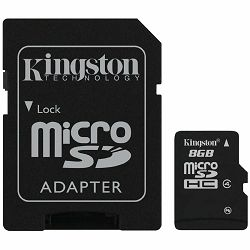 Kingston  8GB microSDHC Class 4 Flash Card + SD Adapter, EAN: 740617128147