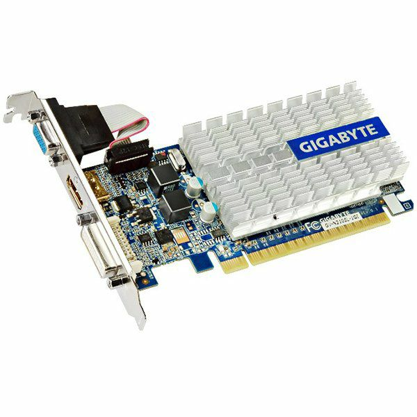 GIGABYTE Video Card GeForce 210 GDDR3 1GB/64bit, 520MHz/1200MHz, PCI-E 2.0 x16, HDMI, DVI, VGA, Heatsink, Low-profile, Retail