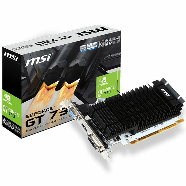 MSI Video Card GeForce GT 730 DDR3 2GB/64bit, 902MHz/1600MHz, PCI-E 2.0 x16, HDMI, DVI-D, VGA, Heatsink, Low-profile, Retail